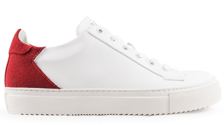 Sneakers subtle rouge et blanche vegan