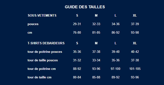 Guide des tailles Bluebuck