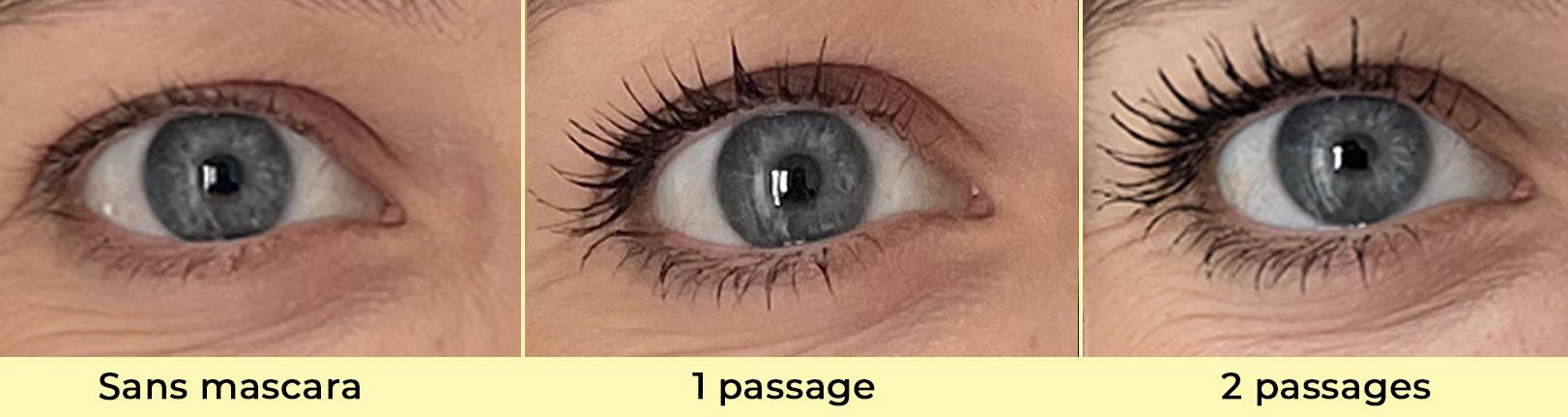 Mascara Pomponne résultat 1 et 2 passages