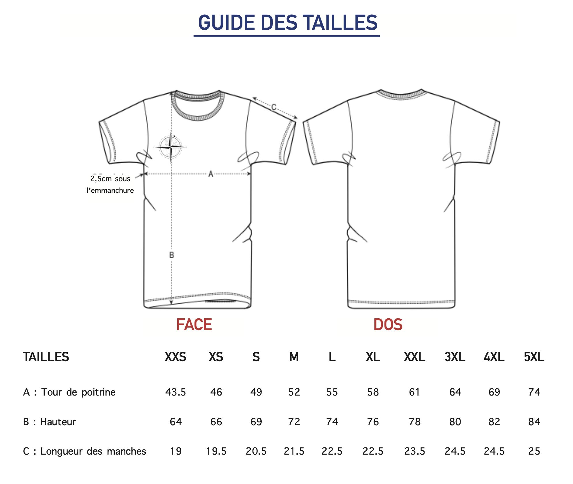 T-shirt Iris guide des tailles