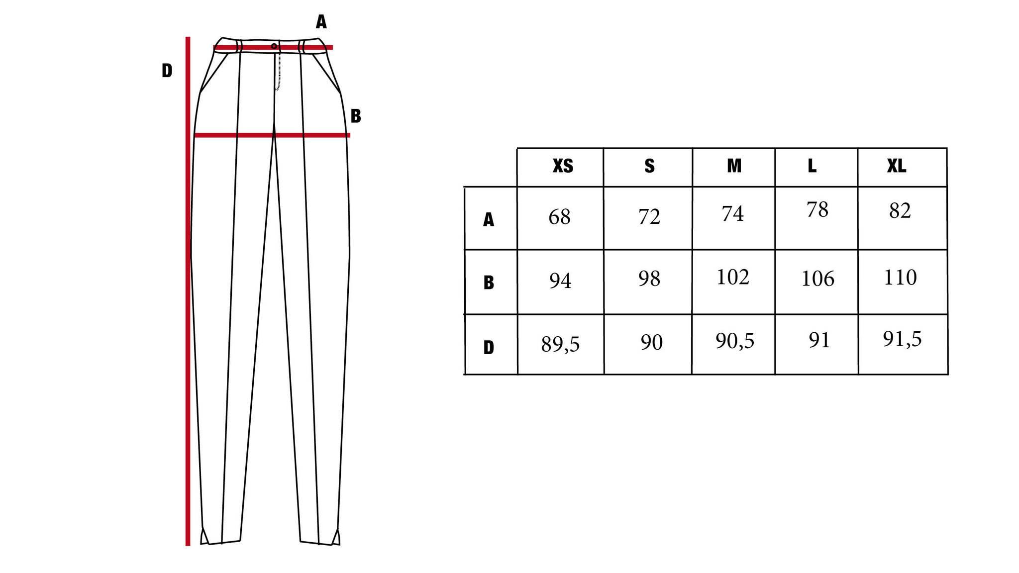 tableau de mesure du pantalon Malo