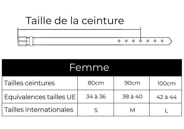 guide des tailles ceintures femme