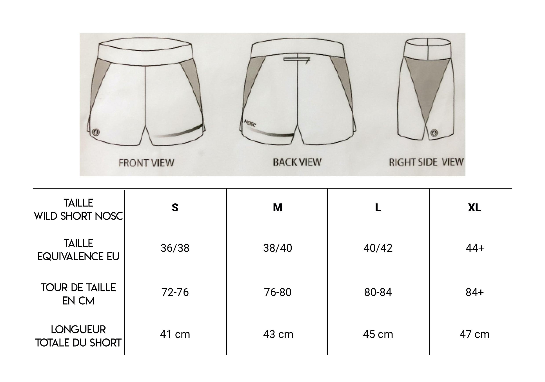 Guide des tailles short