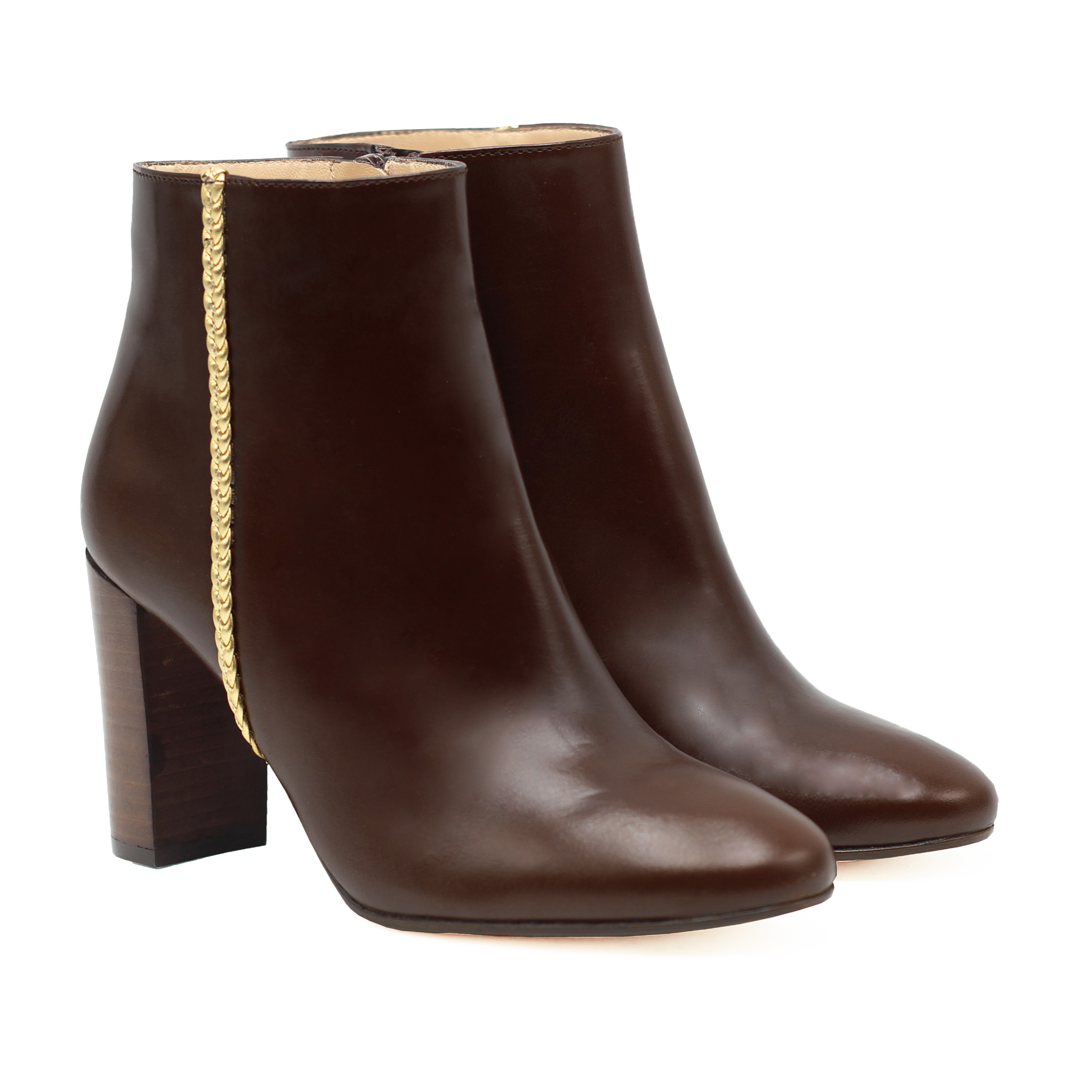 Bottines à talon cuir marron