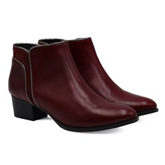 Bottines moyen talon cuir bordeaux