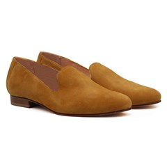 Slippers classiques cuir daim jaune moutarde