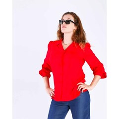 BLOUSE ZINTY MANCHES LONGUES PAGODES 100% VISCOSE, ROUGE UNI
