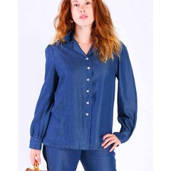 BLOUSE ZINTY BLEUE 100% LYOCELL, MANCHES PAGODES
