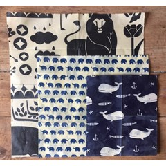 Beeswrap bio - Motif animal - Set de 3 tailles