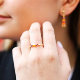 BAGUE FINE ORANGE ET ROSE