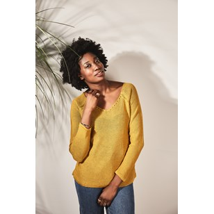 Pull persil col V 100% lin   - jaune d'or