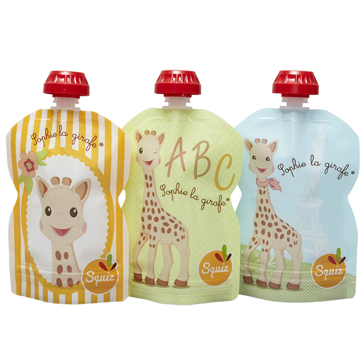 3 GOURDES RÉUTILISABLES 90ML - COLLECTION SOPHIE LA GIRAFE