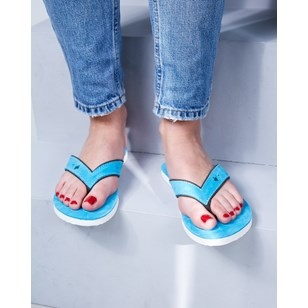 Tong cuir femme - Turquoise