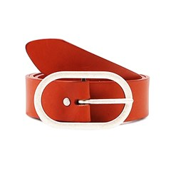 Ceinture large en cuir orange