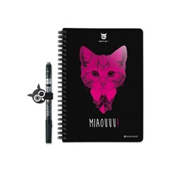 Why Note Book, le carnet A5 réutilisable - Chat rose