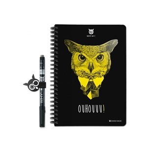 Why Note Book, le carnet A5 réutilisable - Chouette jaune