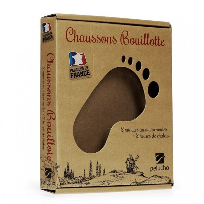 Chaussons bouillotte beiges made in France 2
