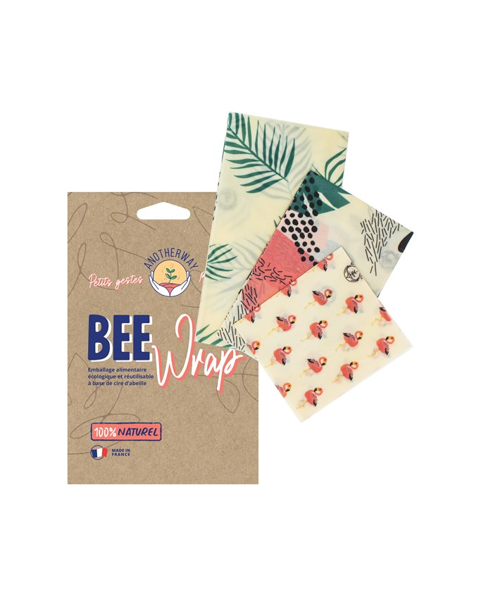 Pack de Bee Wraps   3 Emballages Alimentaires Réutilisables made in France - Tropical 2
