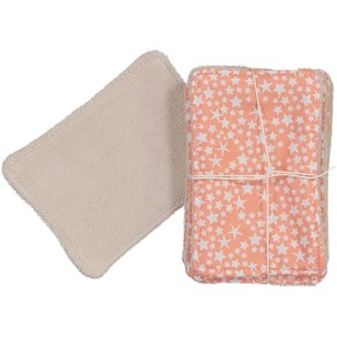 Lot de 5 lingettes lavables - Constellation corail