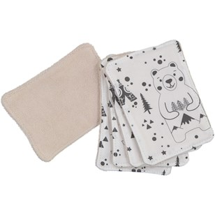 Lot de 5 lingettes lavables - Fox and Bear Noir et Blanc
