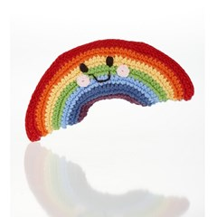 Arc-en-ciel - hochet en crochet de coton équitable Pebble