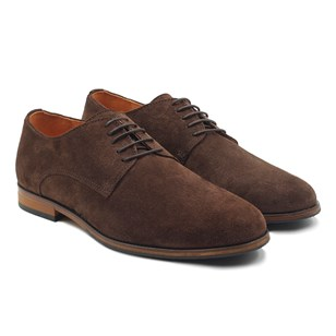 Derbies cuir daim marron