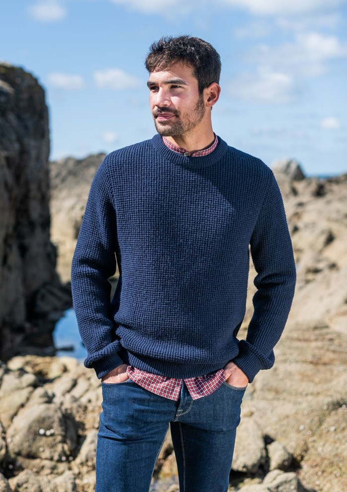 Pull ORIGINE - Fibres recyclées - Made in France - Marine 2