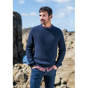 Pull ORIGINE - Fibres recyclées - Made in France - Marine