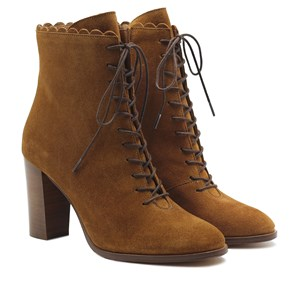 Bottines talon à lacets cuir daim marron clair
