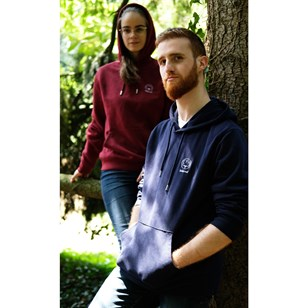Sweat capuche mixte bordeaux en coton BIO