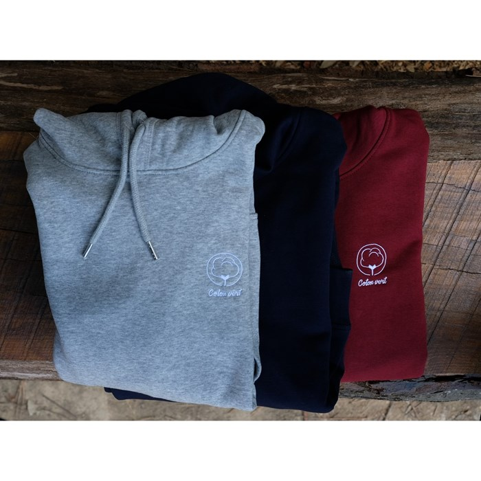 Sweat capuche mixte gris chiné en coton BIO    3