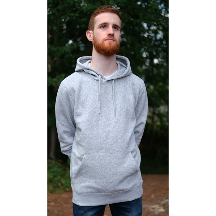 Sweat capuche mixte gris chiné en coton BIO    5