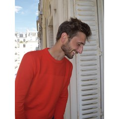 Pull laine mérinos recyclée - Made in France - Dean - rouge - homme