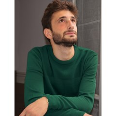 Pull laine mérinos recyclée - Made in France - Dean - vert - homme