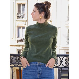 Pull laine recyclée - Made in France - Nikita - Kaki - femme
