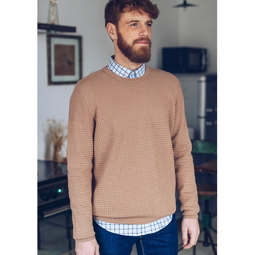 Pull FLANEUR - Made in France - Coton Bio GOTS - Camel