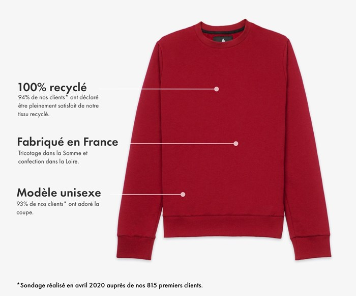 Héro - Le sweat grenat 100% recyclé