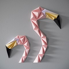 Kit papercraft - Duo flamants roses