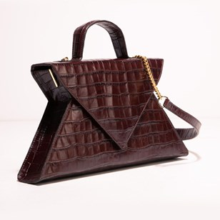 Sac Karine - Croco Marron