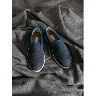 Chaussons homme en laine recyclée - Bleu - AW Slippers