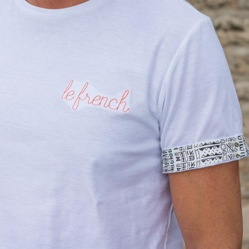 T-shirt Blanc - broderie Le French - coton Bio - Made in France 2