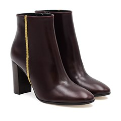Bottines à Talon Cuir Bordeaux