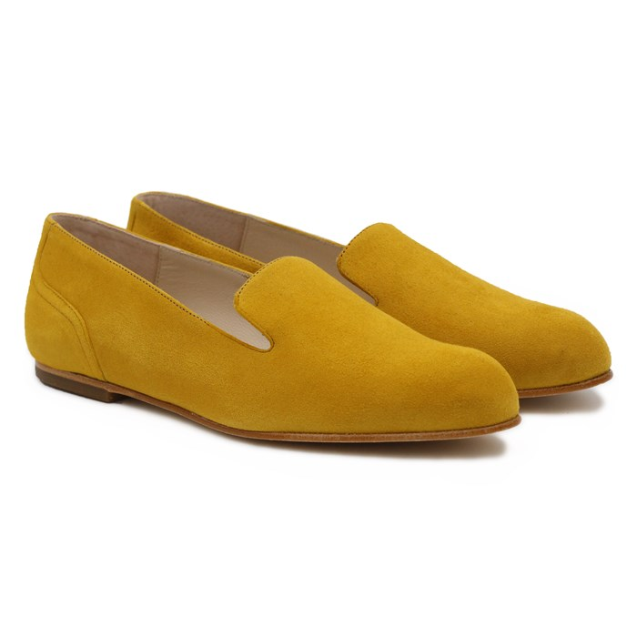 Slippers Plates Daim Jaune Moutarde 2