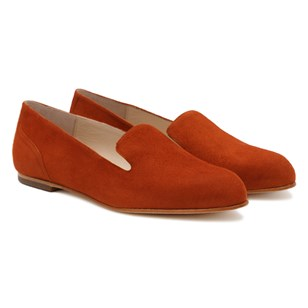 Slippers Plates Daim Orange Brique