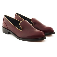 Slippers Cuir Bordeaux