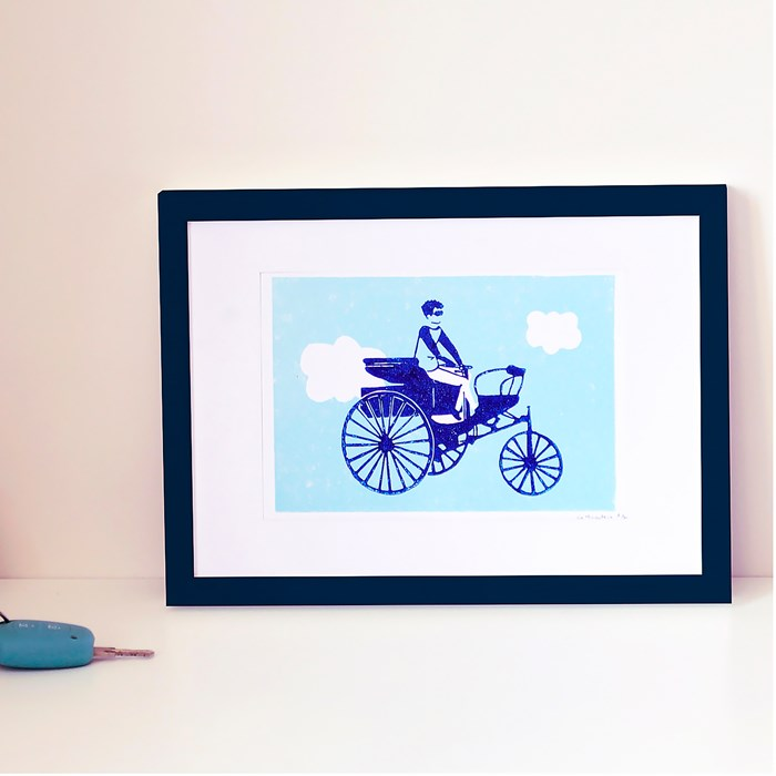 "Illustration ""Tricycle"" - Linogravure A5 2"