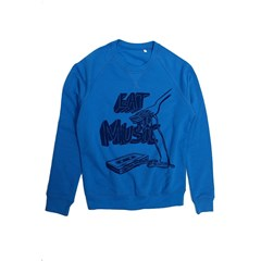 Sweat homme en coton bio bleu Eat music