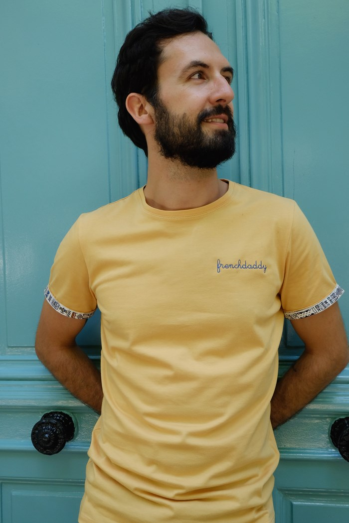 T-shirt ocre broderie Frenchdaddy - Coton bio - Made in France 3