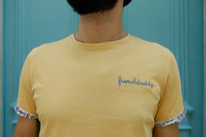 T-shirt ocre broderie Frenchdaddy - Coton bio - Made in France 2
