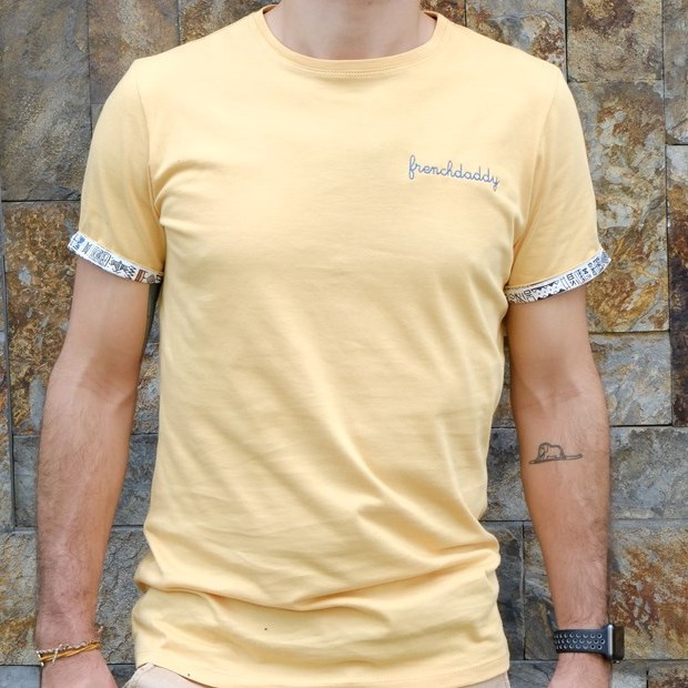 T-shirt ocre broderie Frenchdaddy - Coton bio - Made in France 5